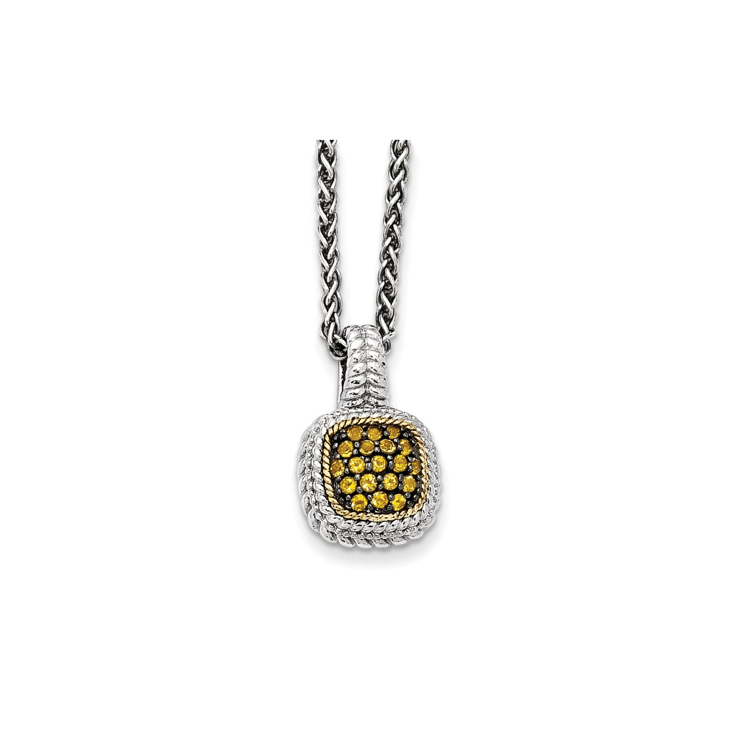 5dfa4b014fd67d Sterling Silver w/14k Gold 18in and Black Rhodium Citrine Necklace ...