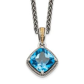 Sterling Silver w/14k Antiqued Blue Topaz Necklace