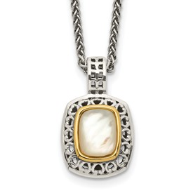 Sterling Silver w/14k Antiqued MOP Necklace