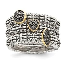 Sterling Silver w/14k Black Diamond 3 Stackable Rings