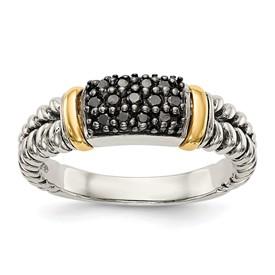 Sterling Silver w/14k Antiqued Black Diamond Ring