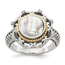 Sterling Silver w/14k Antiqued MOP and Diamond Ring