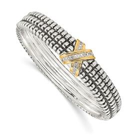 Sterling Silver w/14k 1/15ct. Diamond Bangle Bracelet