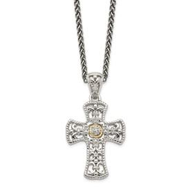 Sterling Silver w/14k Diamond Cross Necklace