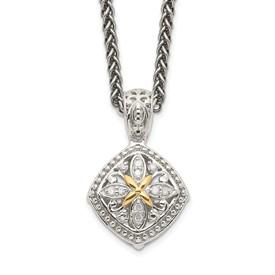 Sterling Silver w/14k Diamond Necklace