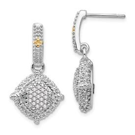 Sterling Silver w/14k Diamond Dangle Post Earrings