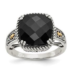 Sterling Silver w/14k Onyx Ring