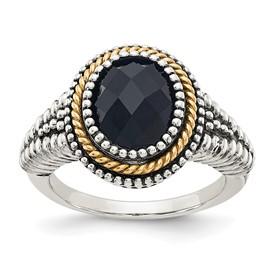 Sterling Silver w/14k Black Onyx Ring