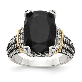 Sterling Silver w/14K Black Onyx & White Diamond Ring