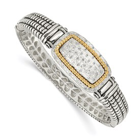 Sterling Silver w/14k 1/4ct. Diamond Bangle Bracelet