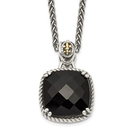 Sterling Silver w/14k Onyx Necklace
