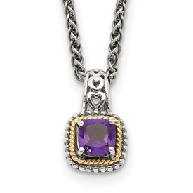Sterling Silver w/14k Amethyst Necklace