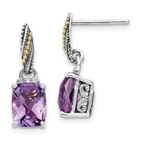 Sterling Silver w/14k Diamond and Amethyst Dangle Post Earrings