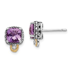 Sterling Silver w/14k Amethyst & Diamond Post Earrings