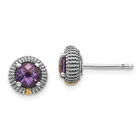 Sterling Silver w/14k Amethyst Post Earrings