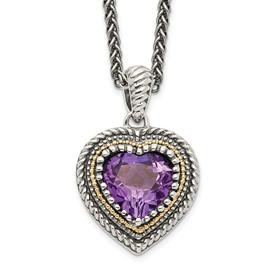 Sterling Silver w/14k Amethyst Heart Necklace