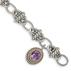 Sterling Silver w/14k Amethyst Bracelet