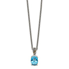 Sterling Silver w/14k Diamond and Blue Topaz Necklace