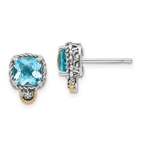 Sterling Silver w/14k Lt Swiss Blue Topaz & Diamond Post Earrings