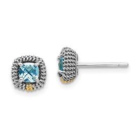 Sterling Silver w/14k Square Cushion Blue Topaz Post Earrings