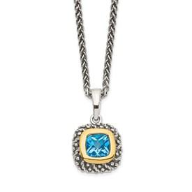 Sterling Silver w/14k Lt Swiss Blue Topaz Necklace