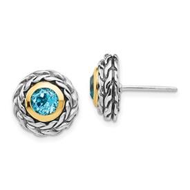 Sterling Silver w/14k Lt Swiss Blue Topaz Post Earrings