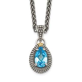 Sterling Silver w/14ky Lt Swiss Blue Topaz Pear Shaped Necklace