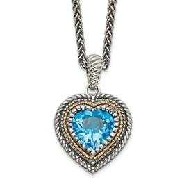 Sterling Silver w/14k Lt Swiss Blue Topaz Heart Necklace