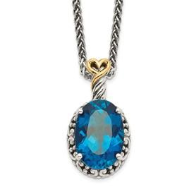 Sterling Silver w/14ky London Blue Topaz Oval Necklace
