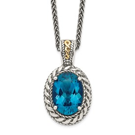 Sterling Silver w/14k London Blue Topaz Hinged Bail Necklace