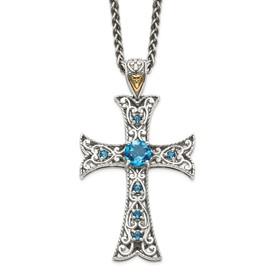 Sterling Silver w/14k London Blue Topaz Cross Necklace