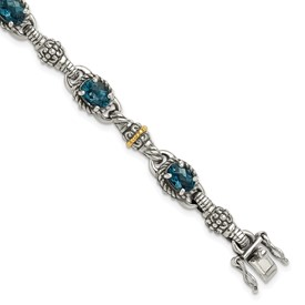 Sterling Silver w/14k London Blue Topaz 7.25 in. Bracelet