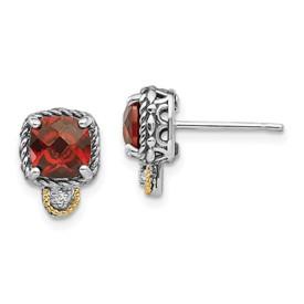 Sterling Silver w/14k Garnet & Diamond Post Earrings
