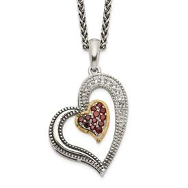 Sterling Silver w/14k Garnet & White Topaz Heart Necklace