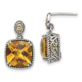 Sterling Silver w/14k Citrine Dangle Post Earrings