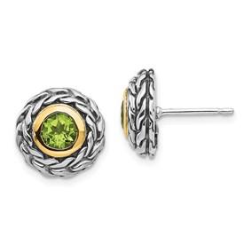 Sterling Silver w/14k Peridot Post Earrings