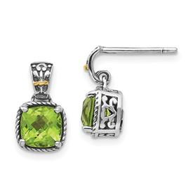 Sterling Silver w/14k Peridot Dangle Post Earrings
