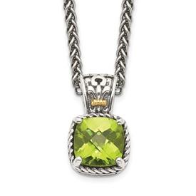 Sterling Silver w/14k Peridot Necklace