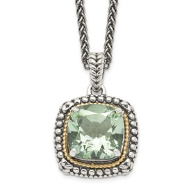 Sterling Silver w/14k Green Quartz Necklace