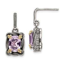 Sterling Silver w/14k Pink Quartz Dangle Post Earrings