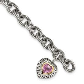 Sterling Silver w/14k Created Pink Sapphire Heart Charm Bracelet