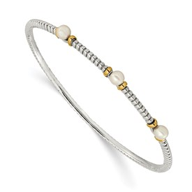 Sterling Silver w/14k 4.5mm FW Cultured Button Pearl Bangle Bracelet
