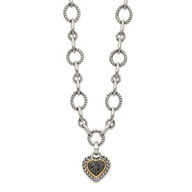 Sterling Silver w/14k Black Diamond Heart Drop Necklace