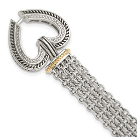 Sterling Silver w/14k Diamond Heart Bracelet