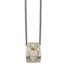 Sterling Silver w/14k Diamond Pendant Necklace