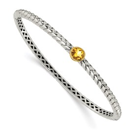 Sterling Silver w/14k 6mm Citrine Hinged Bangle Bracelet