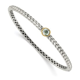Sterling Silver w/14k Green Quartz Bangle Bracelet