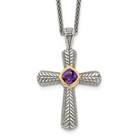 Sterling Silver w/14k Amethyst Cross Necklace