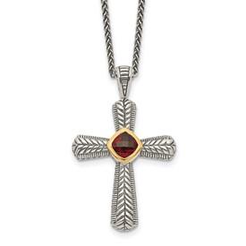 Sterling Silver w/14k Garnet Cross Necklace
