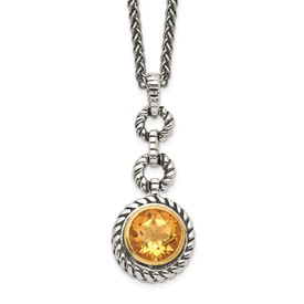 Sterling Silver w/Gold-tone Flash GP Citrine Necklace